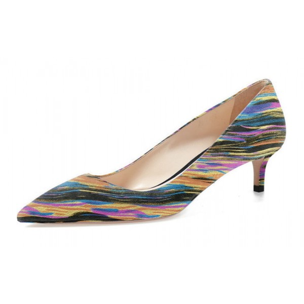 Multi-color Dress Shoes Kitten Heels Colorful Stripes Pointy Toe Pumps image 1