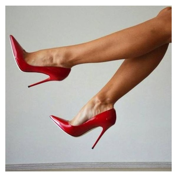On Sale Red Office Heels Patent Leather Pointy Toe Stiletto Heel Pumps image 5