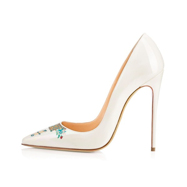 Women's Pointy Toe White Floral Office Heels Stiletto Pumps image 2