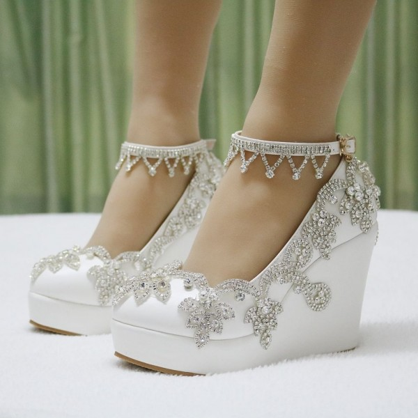 Women\'s White Rhinestone Wedding Shoes Almond Toe Wedge Heels for ...