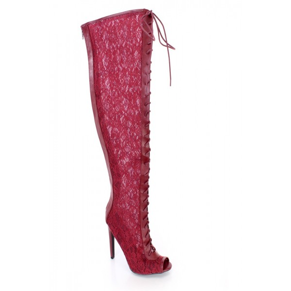 Burgundy Lace Wide Calf Boots Peep Toe Stiletto Heel Lace up Boots image 3