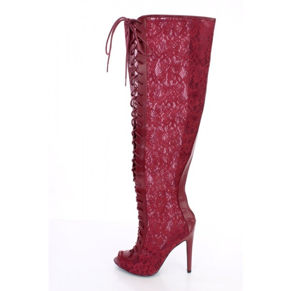 Burgundy Lace Wide Calf Boots Peep Toe Stiletto Heel Lace up Boots image 2