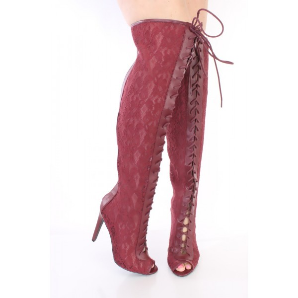Burgundy Lace Wide Calf Boots Peep Toe Stiletto Heel Lace up Boots image 4