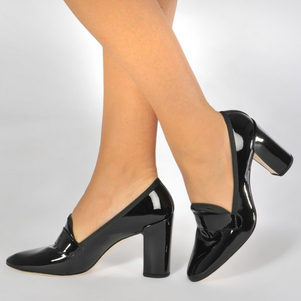 5f23cd39e1d Black Patent Leather Block Heel Trending Heeled Loafers for Women
