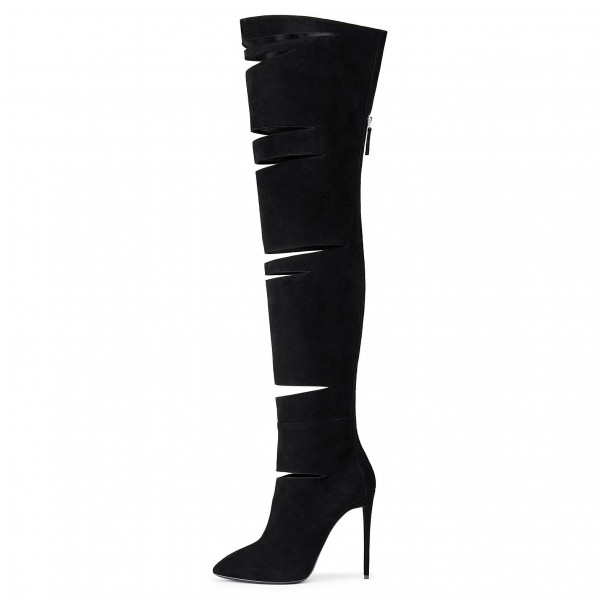 Fashion Black Hollow Out Stiletto Boots Suede Pointy Toe Long Boots image 1