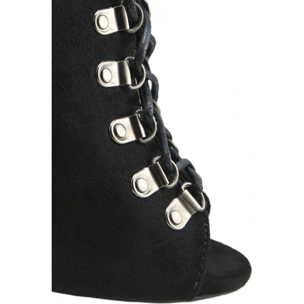 Fashion Black Lace up Boots Peep Toe Suede Ankle Boots For Women image 3
