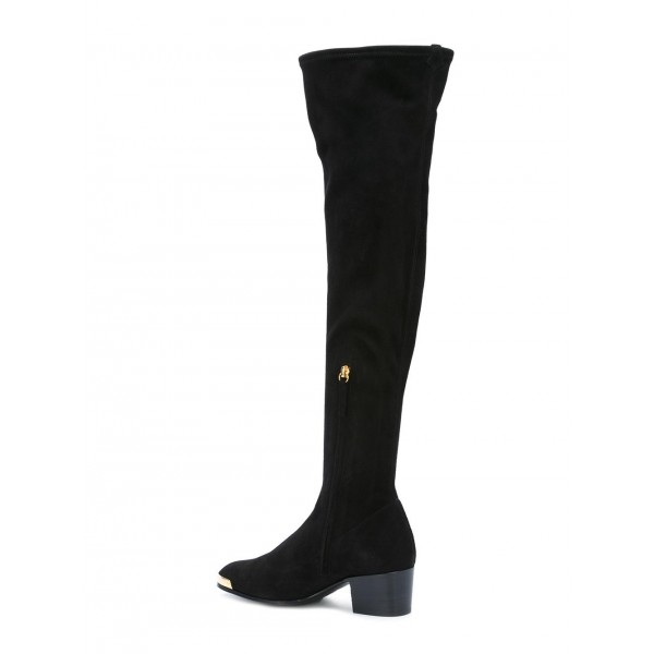 Fashion Black Long Boots Suede Over The Knee Chunky Heels Zip Shoes image 2