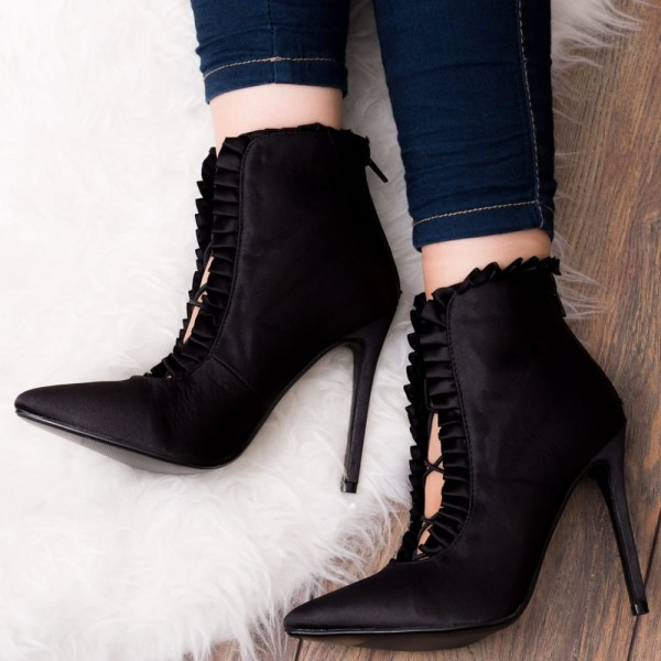 Black Satin Pointy Toe Stiletto Heels Ankle Booties Dress Shoes image 1
