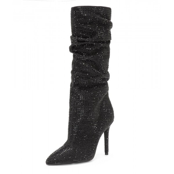 Fashion Black Slouch Boots Pointed toe Strass Hotfix Stiletto Booties  image 1