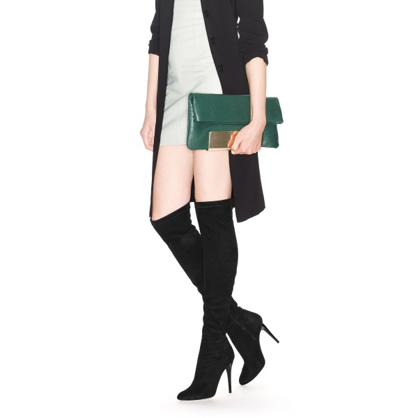 Fashion Black Stiletto Boots Pointy Toe Suede Sexy Thigh High Boots  image 2