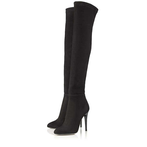 Fashion Black Stiletto Boots Pointy Toe Suede Sexy Thigh High Boots  image 3