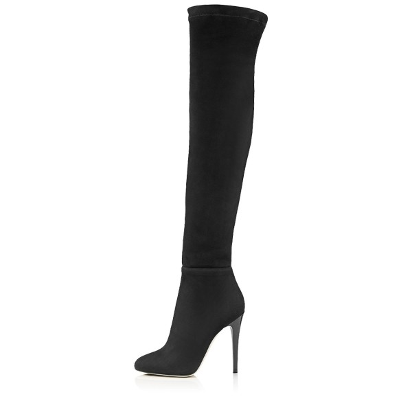Fashion Black Stiletto Boots Pointy Toe Suede Sexy Thigh High Boots  image 1