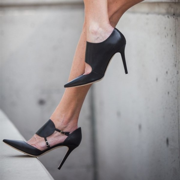 Fashion Black Stiletto Heels Pointy Toe Buckle Pumps Vintage Shoes image 1