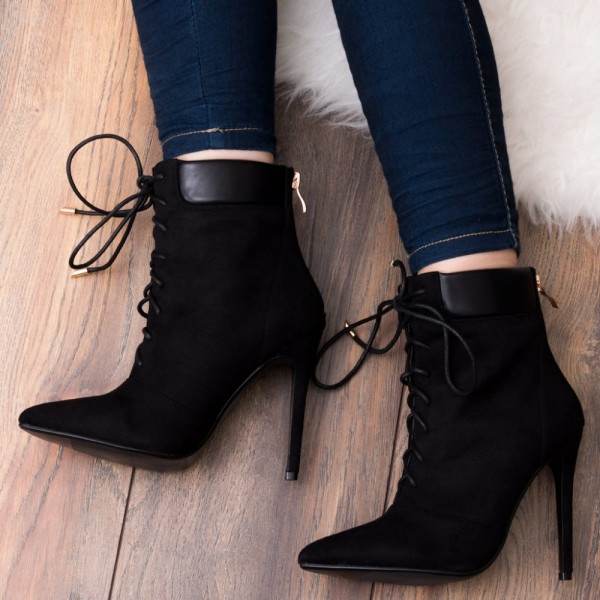 Fashion Black Suede Lace Up Boots Pointy Toe Stiletto Heel Ankle Boots image 1