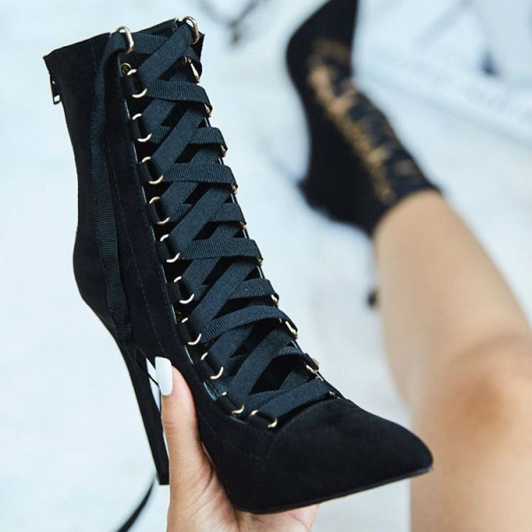 Fashion Black Suede Lace Up Boots Stiletto Heel Pointy Toe Ankle Boots image 1