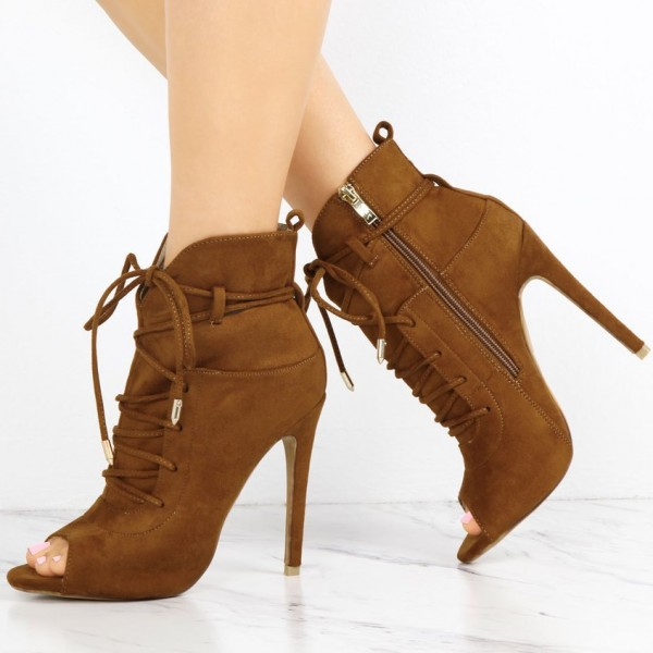Fashion Brown Lace up Boots Peep Toe Suede Ankle Boots For Women image 1
