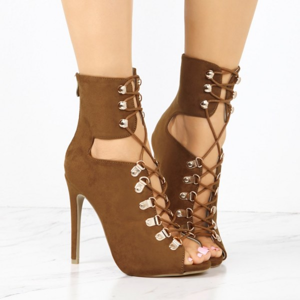 Fashion Brown Lace up Boots Peep Toe Suede Ankle Boots For Women image 2