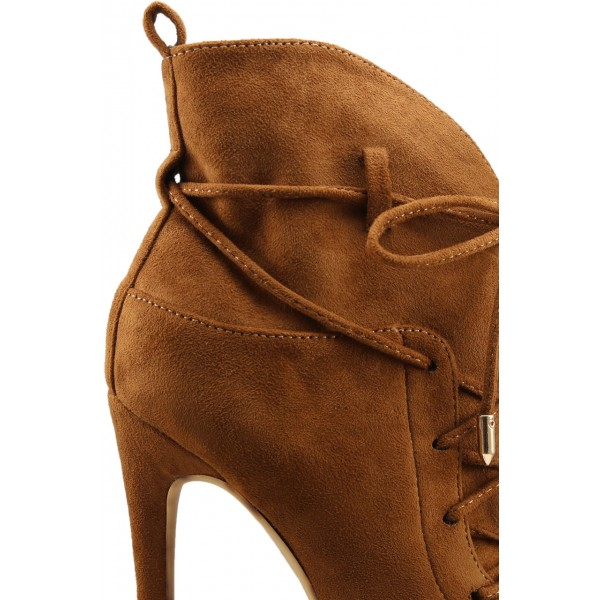 Fashion Brown Lace up Boots Peep Toe Suede Ankle Boots For Women image 3