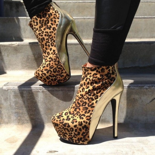 Gold and Leopard Booties Closed Toe Stiletto Heel Platform Ankle Boots image 1