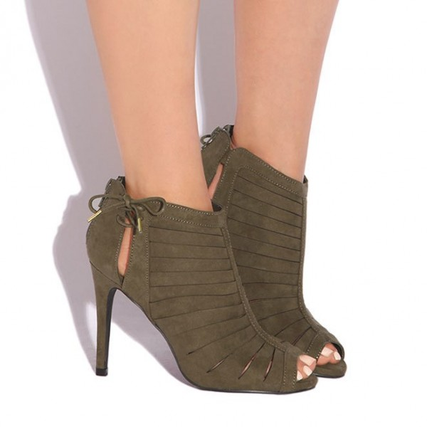 Fashion Brown Strappy Heels Lace Up Peep Toe Stiletto Suede Sandals  image 2