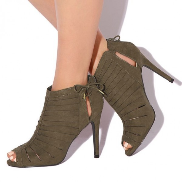 Fashion Brown Strappy Heels Lace Up Peep Toe Stiletto Suede Sandals  image 1