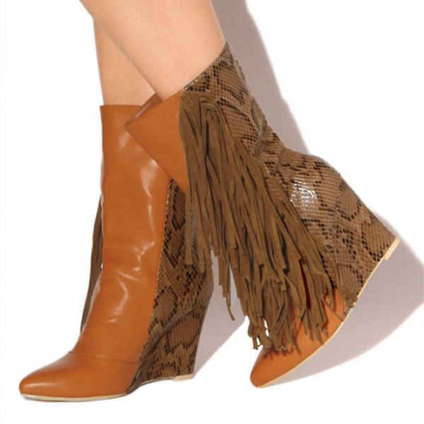 Brown Fringe Boots Python Wedge Heel Mid Calf Boots for Women image 1