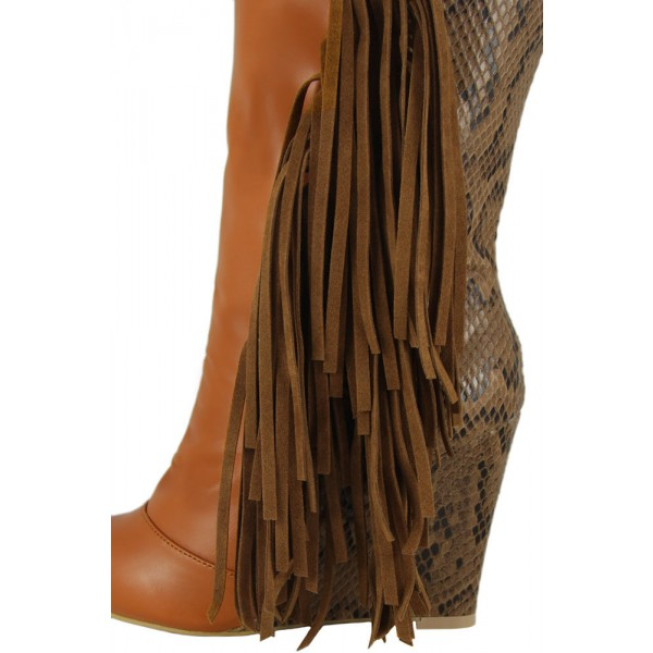 Brown Fringe Boots Python Wedge Heel Mid Calf Boots for Women image 3