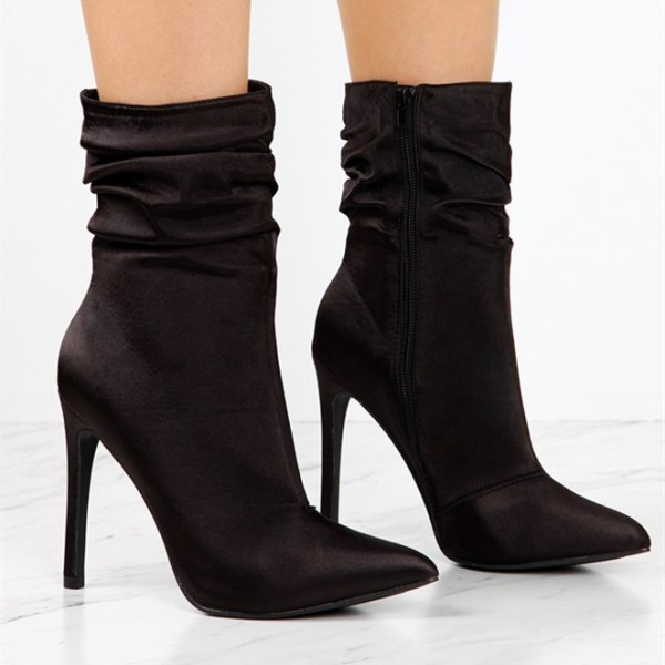 Fashion Brownish Black Stiletto Boots Satin Pointy Toe Ankle Boots   image 2