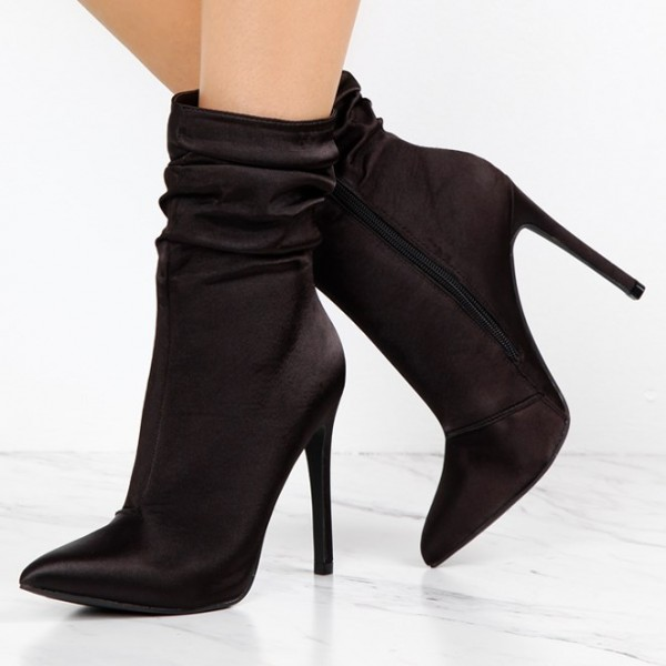 Fashion Brownish Black Stiletto Boots Satin Pointy Toe Ankle Boots   image 1
