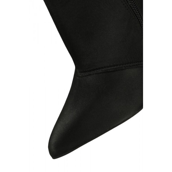 Fashion Brownish Black Stiletto Boots Satin Pointy Toe Ankle Boots   image 3