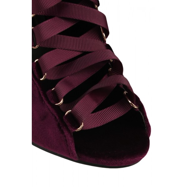 Burgundy Boots Peep Toe Stiletto Heel Slingback Lace up Ankle Booties image 3