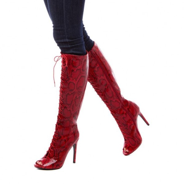 Fashion Burgundy Stiletto Boots Lace Up Peep Toe Knee-high Boots  image 1