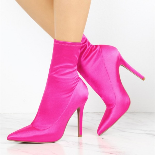 Fashion Coral Satin Stiletto Boots Elastic Pointy Toe Ankle Boots  image 1