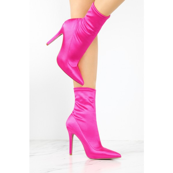 Hot Pink Lycra Sock Boots Pointy Toe Stiletto Heel Ankle Booties image 3