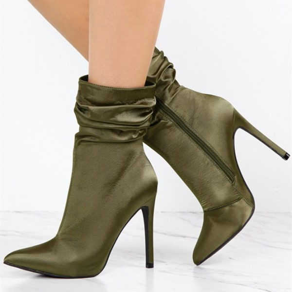 Fashion Forest Green Stiletto Boots Satin Pointy Toe Ankle Boots image 1