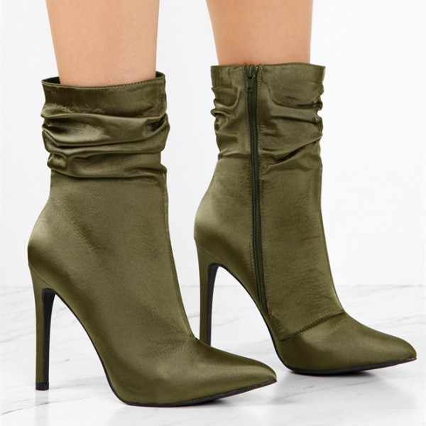 Fashion Forest Green Stiletto Boots Satin Pointy Toe Ankle Boots image 2