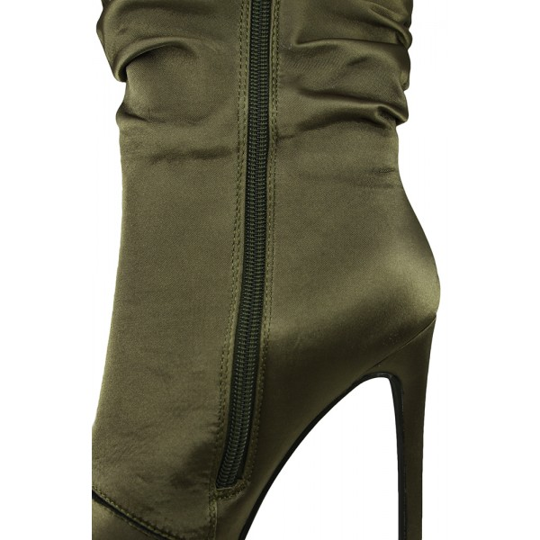 Fashion Forest Green Stiletto Boots Satin Pointy Toe Ankle Boots image 3