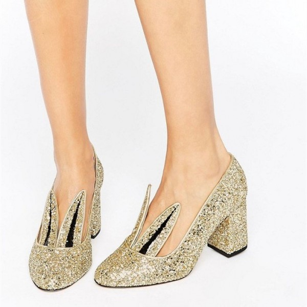 Fashion Gold Glitter Dress Shoes Chunky Heels Lovely Rabbit Pumps   image 1