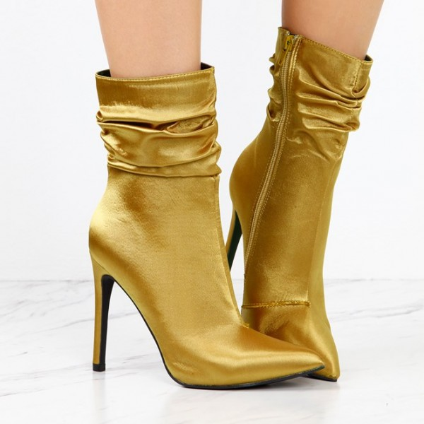 Fashion Gold Stiletto Boots Satin Pointy Toe Ankle Boots Zip Shoes image 2