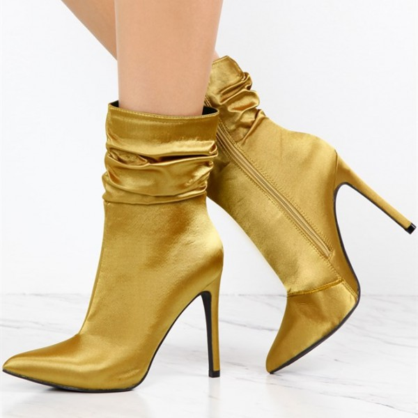 Fashion Gold Stiletto Boots Satin Pointy Toe Ankle Boots Zip Shoes image 1