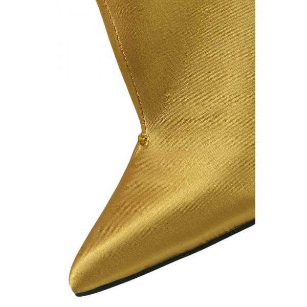 Fashion Gold Stiletto Boots Satin Pointy Toe Ankle Boots Zip Shoes image 3