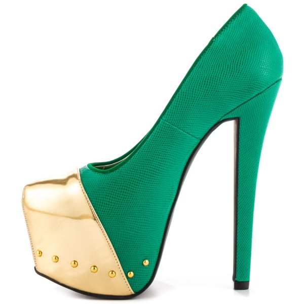Fashion Green And Gold Dress Shoes High Heel Platform Pumps FSJ Shoes image 1