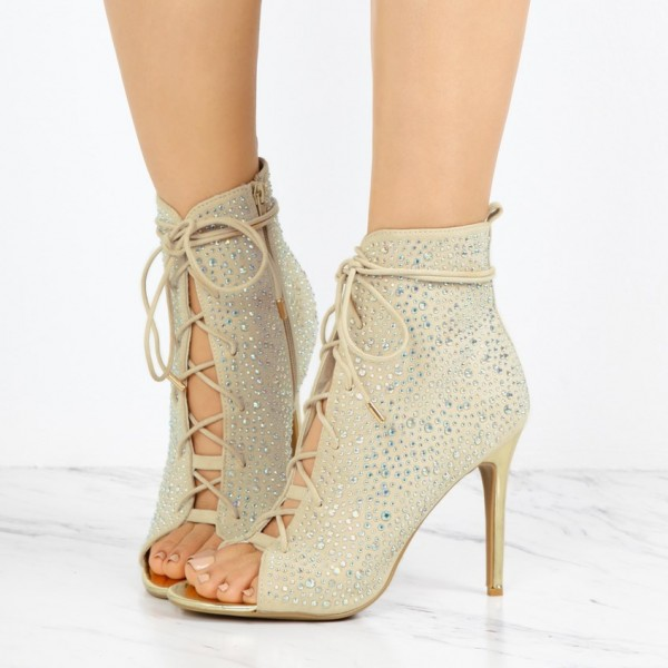 Fashion Ivory Lace up Boots Peep Toe Rhinestone Ankle Boots For Women image 1