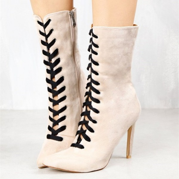 Fashion Ivory Lace up Boots Soft Suede Pointy Toe Stiletto Heel Boots image 1