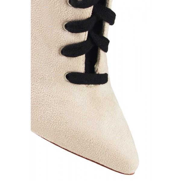 Fashion Ivory Lace up Boots Soft Suede Pointy Toe Stiletto Heel Boots image 2