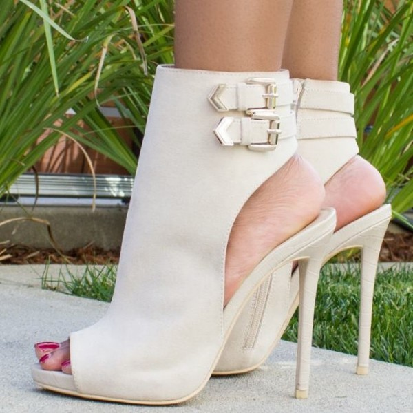 Fashion Ivory Stiletto Boots Peep Toe Buckle Ankle Booties  image 1