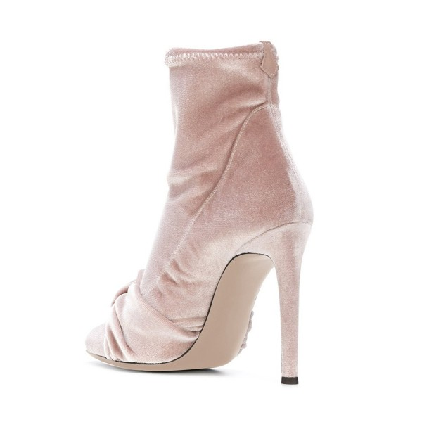FSJ Blush Velvet Boots Pointy Toe Stiletto Heel Bow Ankle Booties image 3