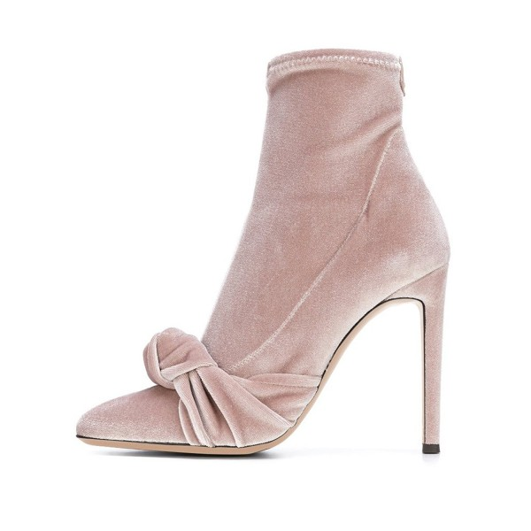 FSJ Blush Velvet Boots Pointy Toe Stiletto Heel Bow Ankle Booties image 4