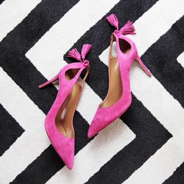 Fashion Magenta Red Stiletto Heels Pointy Toe Suede Tassels Pumps  image 1