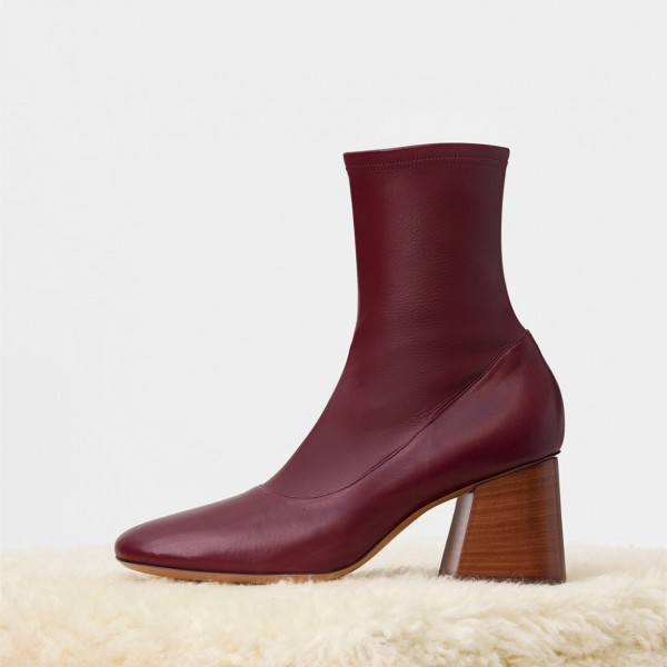 Fashion Maroon Chunky heel Boots Leather Pointy Toe Ankle Boots image 1
